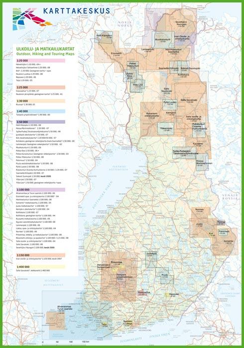 Cartes de randonnée en Finlande