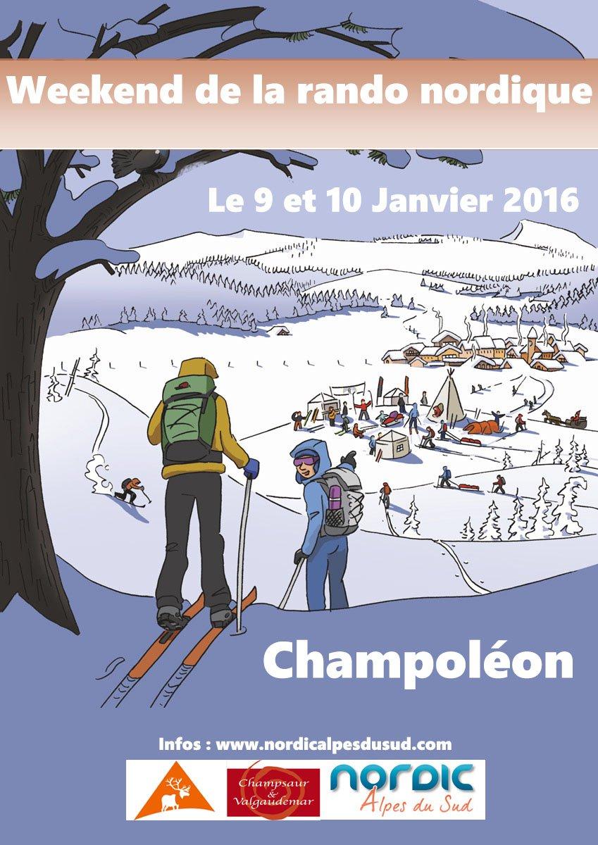 Weekend de la randonnée nordique Champoléon Janvier 2016