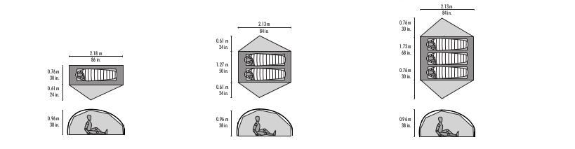 Dimensions des tentes Msr Freelite 1, 2, 3