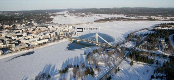 Le pont des Bougies du Bûcheron et la ligne de départ de la Rovaniemi150