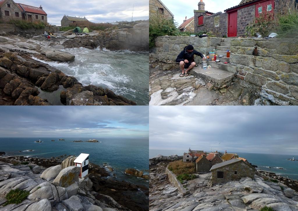 Maîtresse île des Minquiers : Bivouac, popotte, wc avec vue, les maisons