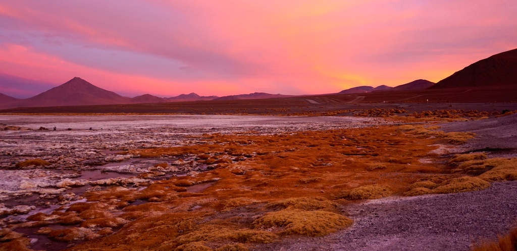 Crépuscule à Laguna Colorada