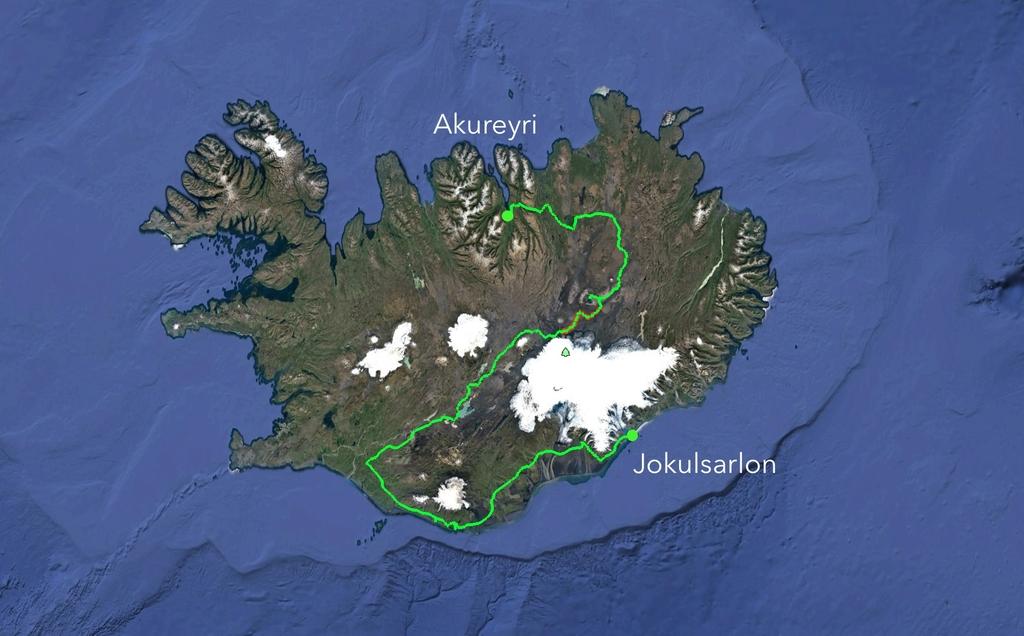 Carte de Google earth de l'itinéraire prévu et réalisé en vélo