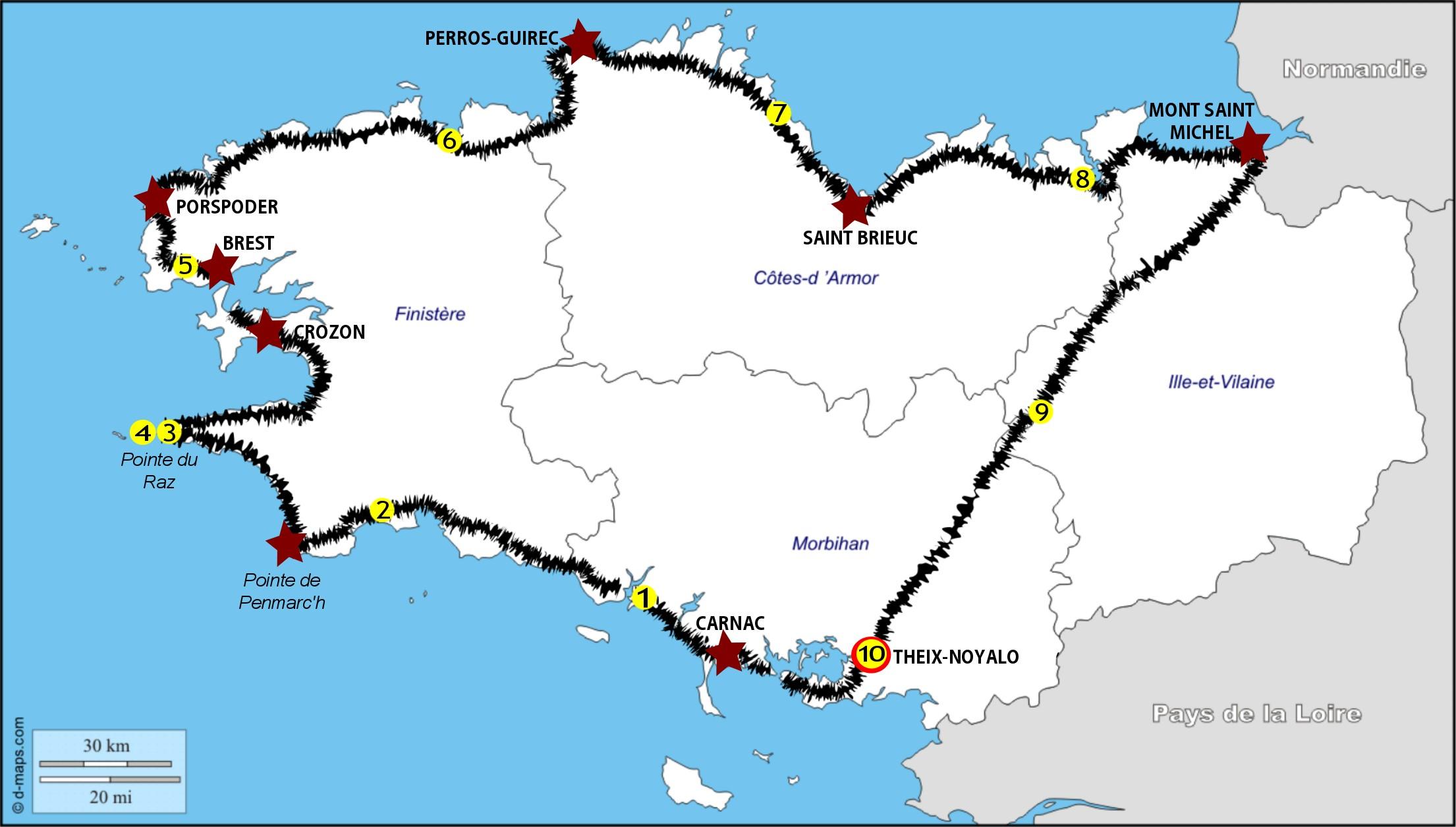 Carte Bretagne Velo.Le Tour De La Bretagne A Velo