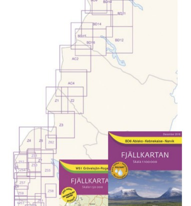 Cartes de randonnée Suède, série Fjallkartan