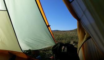 Vue depuis l'intérieur de notre tente tipi Wickiup 4 de Nigor